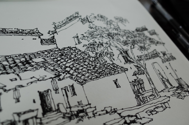 徽州古建筑钢笔速写