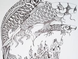 钢笔画【放鹞子】