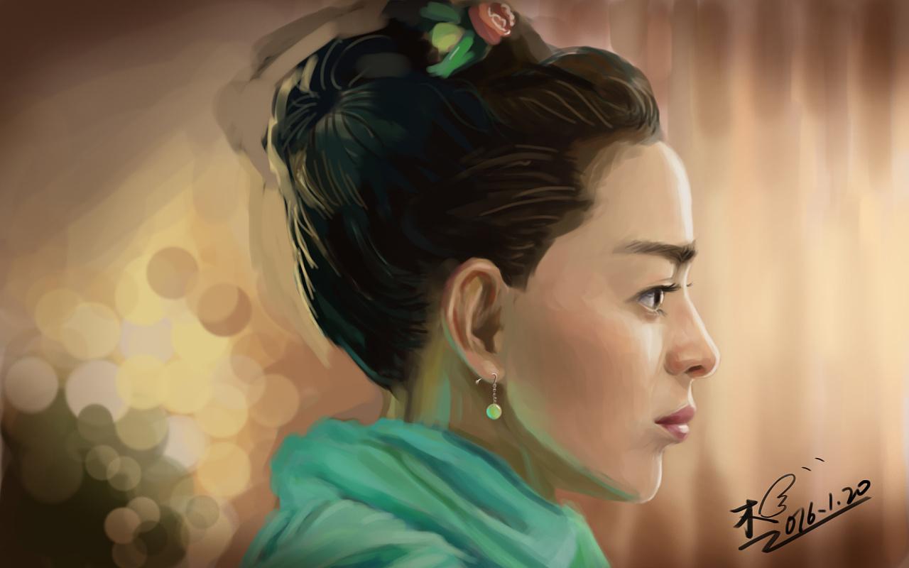 美女侧面的手绘练习,耗时4个小时.