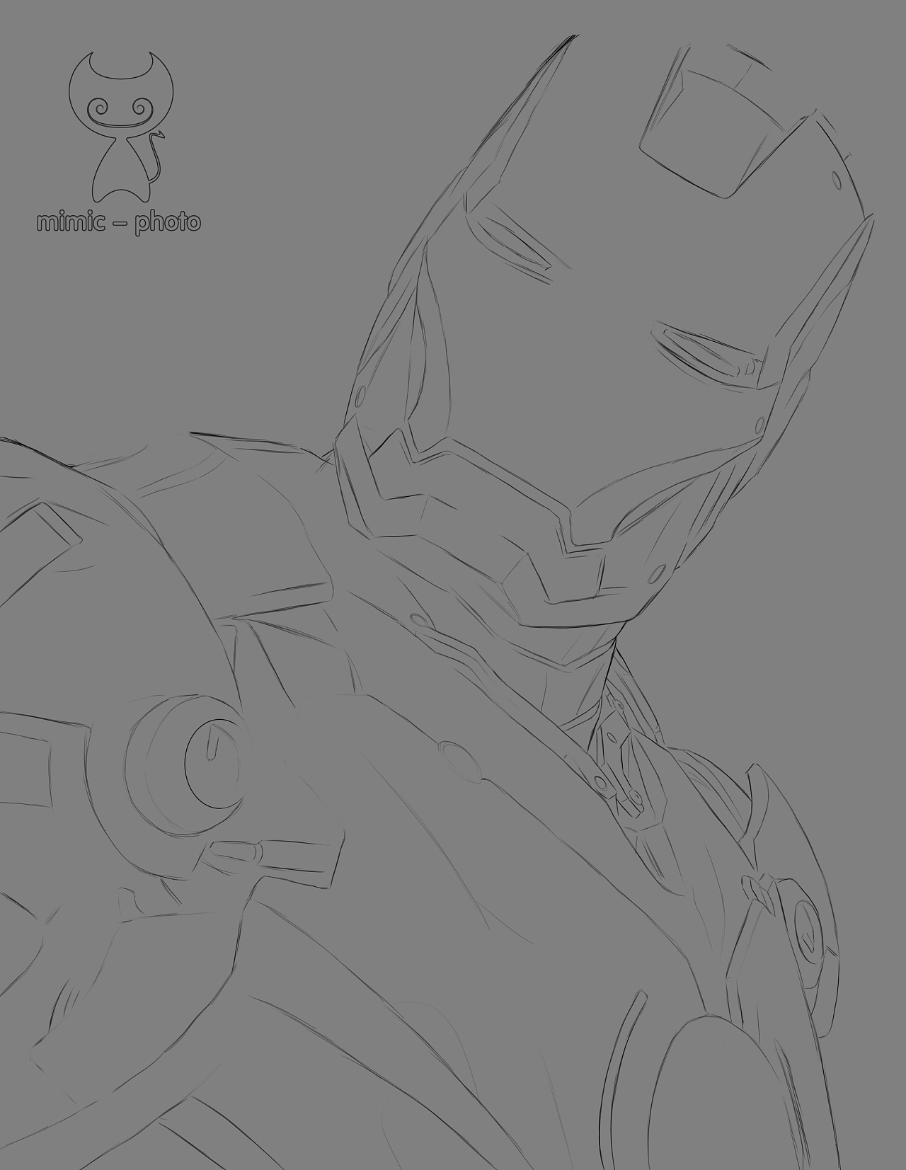 ps 临摹 手绘 《钢铁侠》