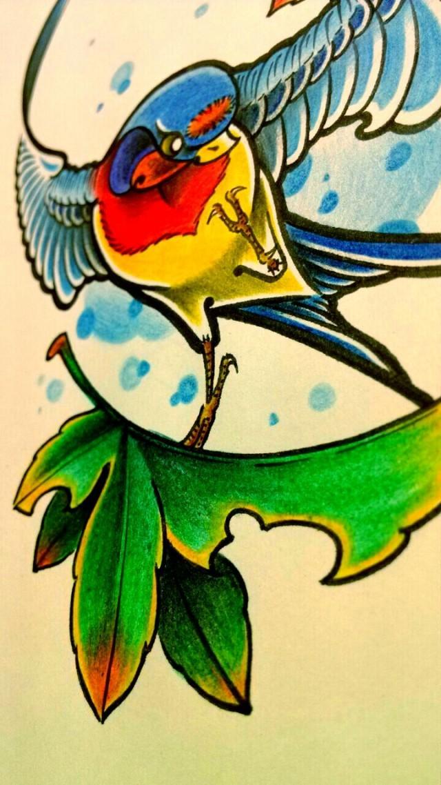 纹身手稿——燕子