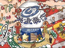 最近帮一家银行做的一张圣诞与年画结合的卡通童趣插画