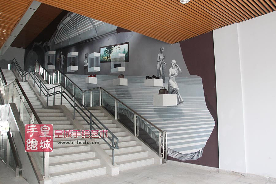 皇城手绘艺术墙面3d立体画作品《灰色空间》