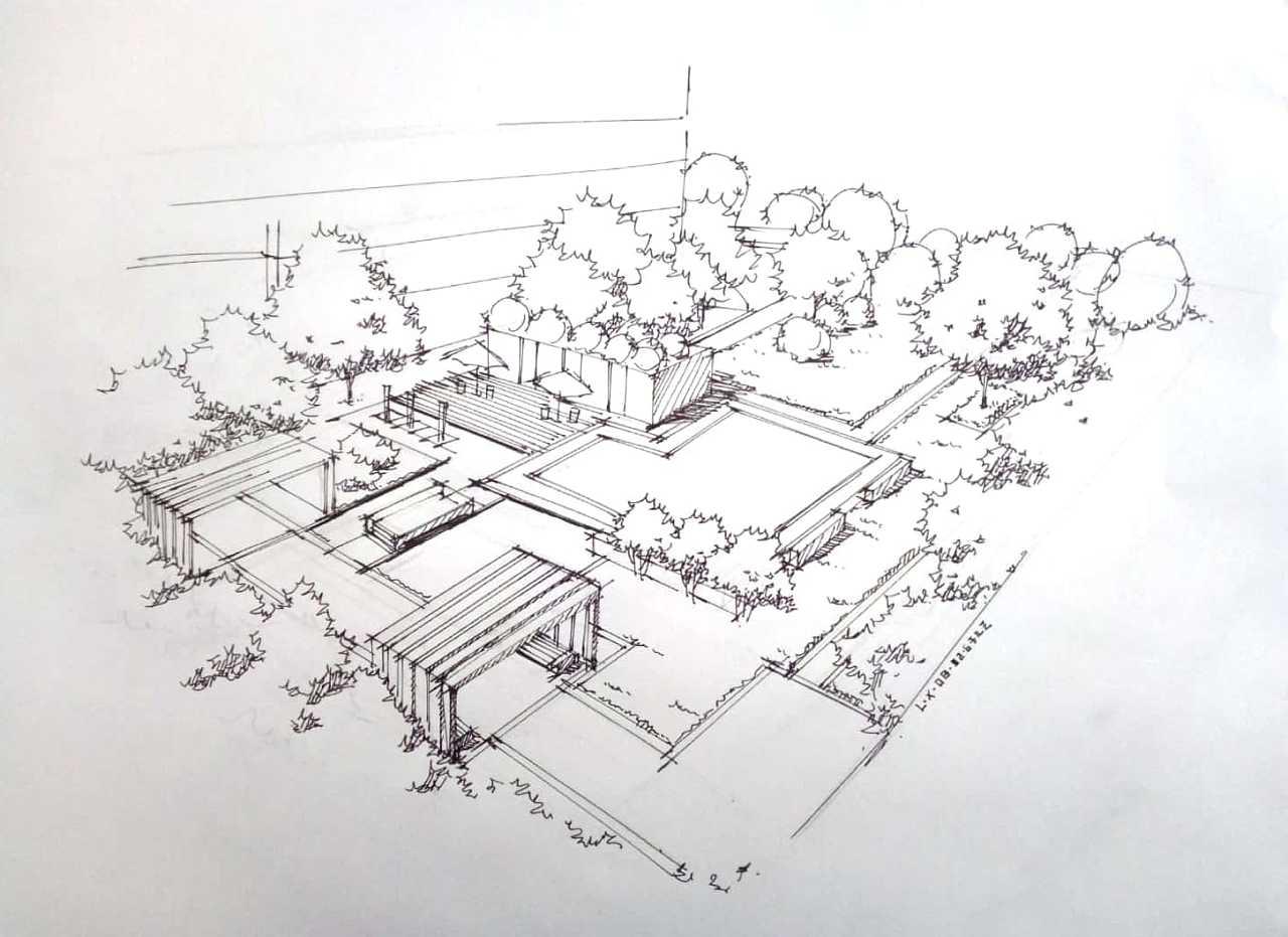 风景园林手绘效果图 写生鸟瞰图表现