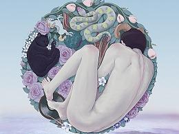 《再见,爱人》小说封面插画及设计