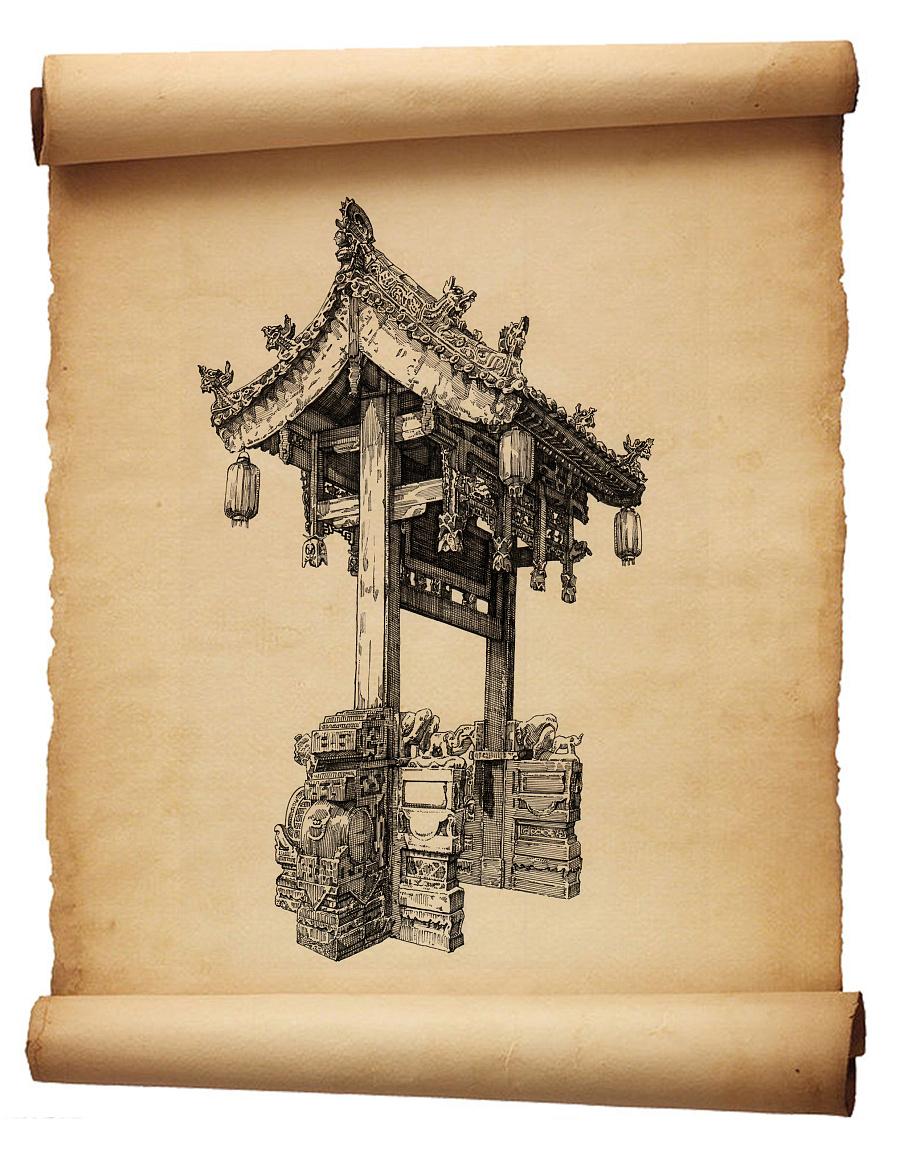 原创作品:手绘古建筑