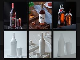 CINEMA 4D+OC 酒瓶产品渲染