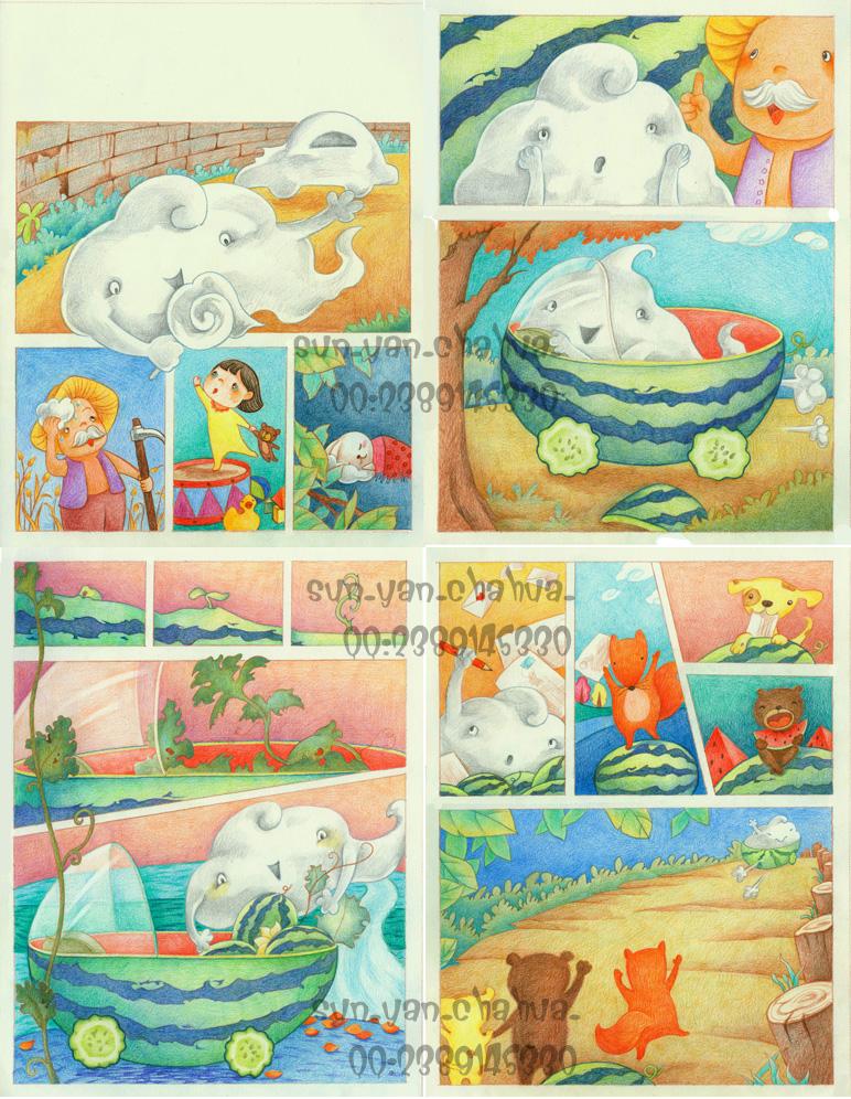 末末的彩铅世界—彩铅手绘杂志配图|儿童插画|插画