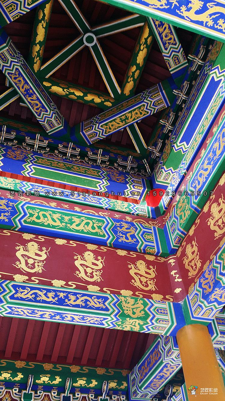 简述苏式彩画 明清时期梁枋彩画的特点 长廊上的寄澜亭上的彩画图片