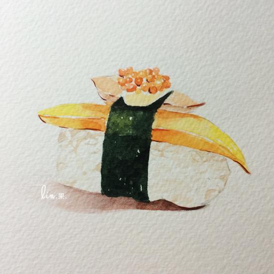 手绘美食·寿司 绘画习作 插画 木木lin