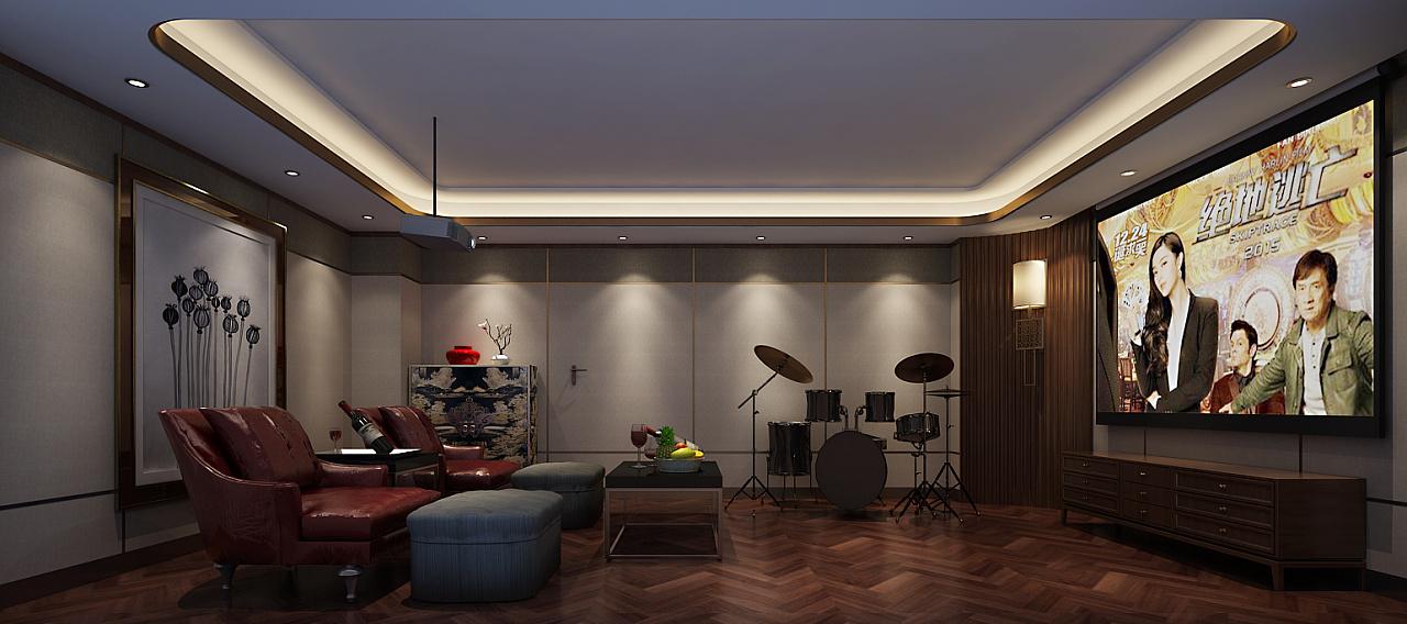 郑州天地湾420平新中式风格别墅装修效果图——二楼主卧 郑州天地湾4图片