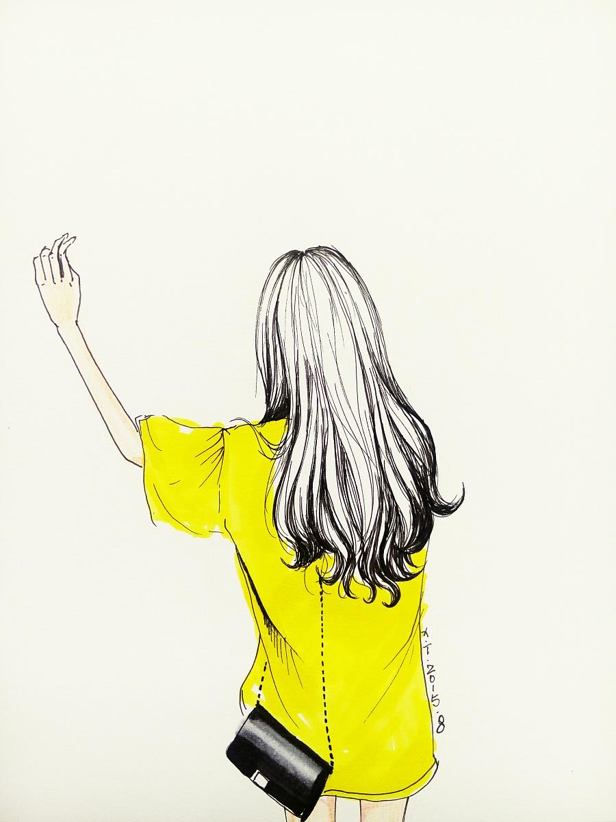 背影女孩|绘画习作|插画|上官凝儿