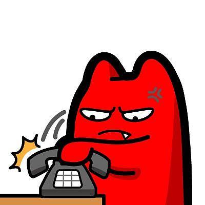 h56【魔鬼猫表情-挂电话】#半身 道具 生气 发火 愤怒 老式电话 座机图片