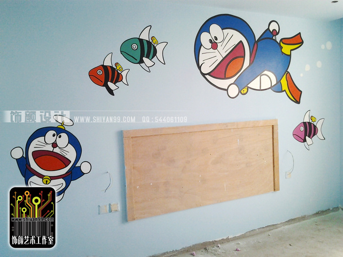 焦作手绘墙,焦作墙绘,哆啦a梦.|插画|其他插画|caine