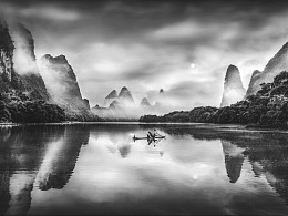 【桂林大河】-黑白山水间