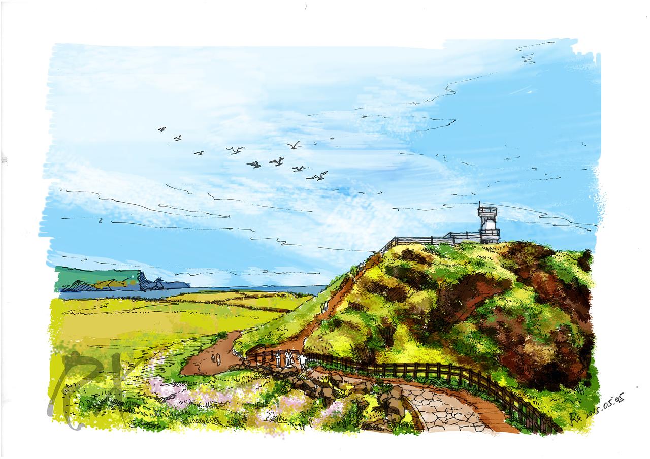 【手绘风景明信片】韩国济州岛