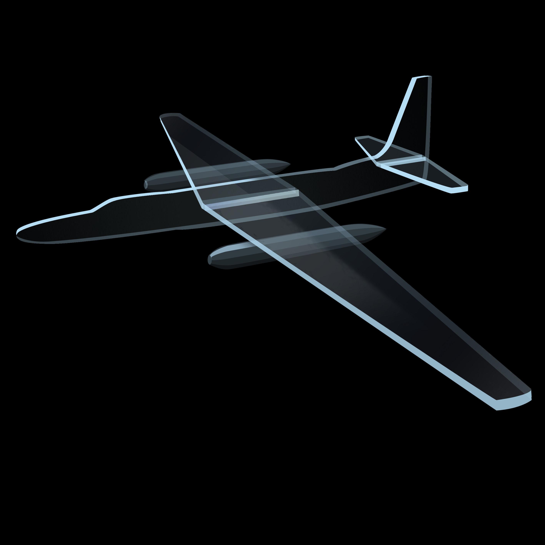 手绘飞机正面图黑色