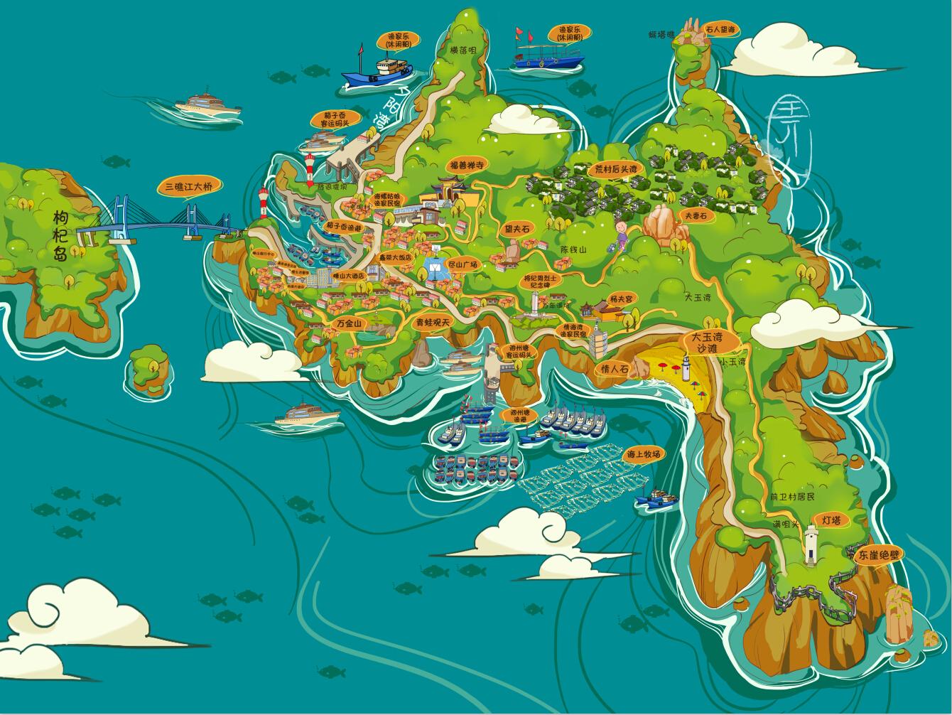 嵊山岛手绘地图