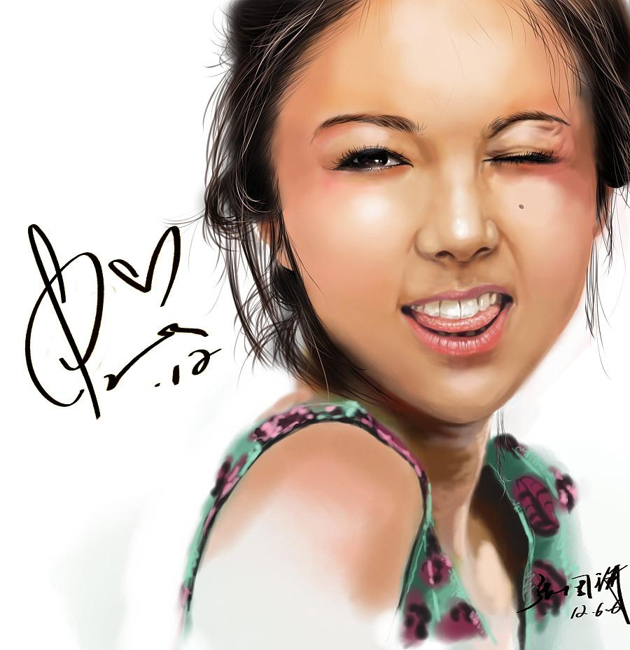 手绘 插画 手绘板 女星 薛凯