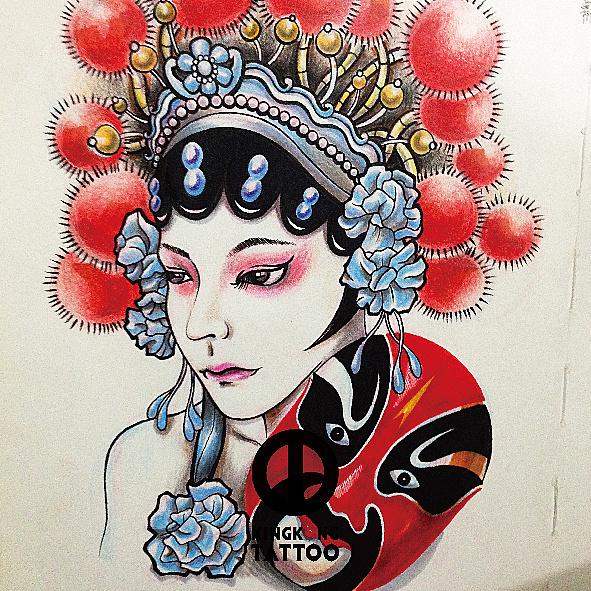 原创手绘中国风脸谱花旦纹身手稿