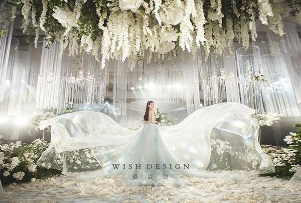 海洋女仙,水晶头纱搭配森系婚纱图片