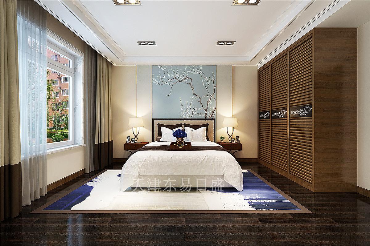 格调临泉新中式风格129平米主卧室装修效果图图片