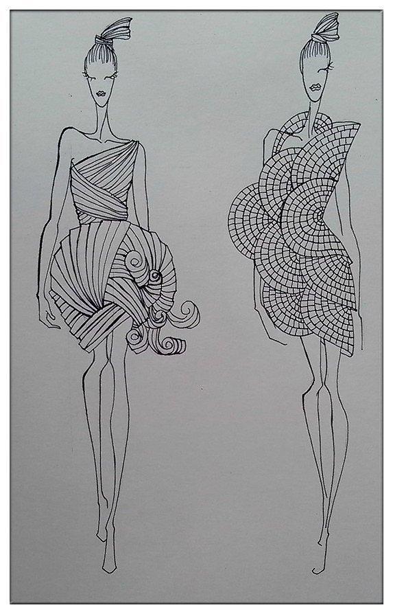 服装手绘|服装|休闲/流行服饰|在雨下的泡芙小姐-r450
