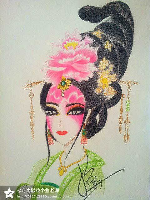 我的妆面美人艺术图|彩铅|纯时尚|小鱼彩妆数据手稿大规划设计图片