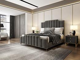 美式布艺床超写实设计出图,美式床3D渲染