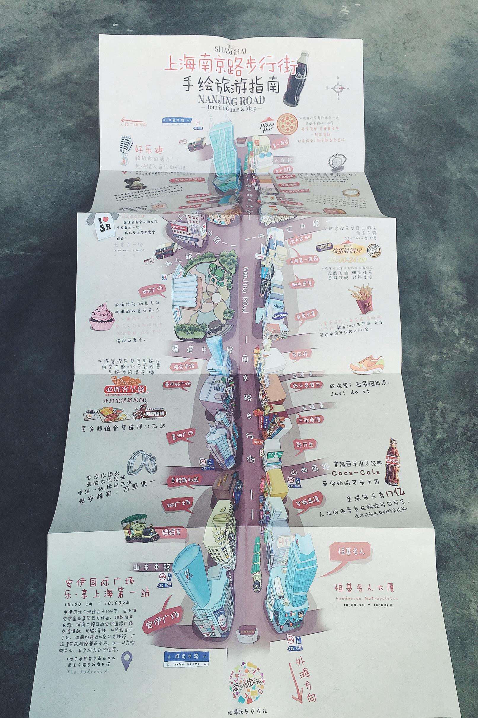 上海南京路步行街手绘地图