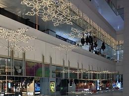 大型商场中庭装饰美陈繁花似锦LED雪花吊饰专利厂铭星