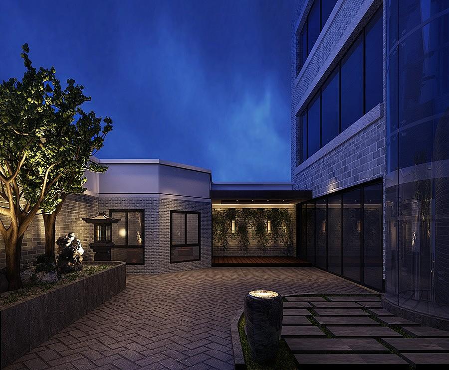 名门紫苑320平合院别墅新中式装修图片