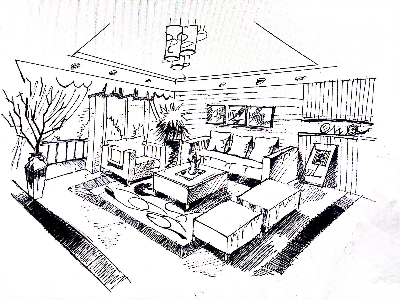 客厅手绘图|空间|室内设计|吕文瑞 - 原创作品 - 站酷