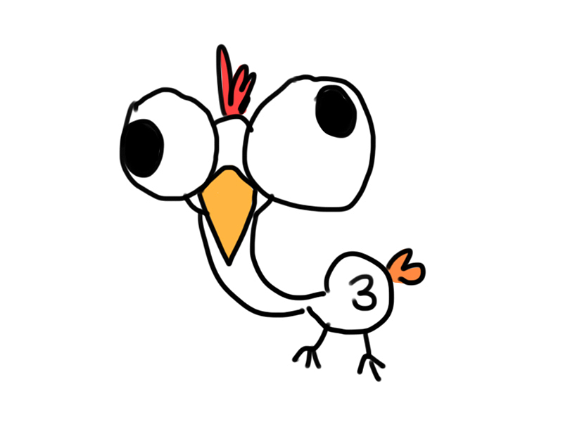 大眼大头白毛鸡