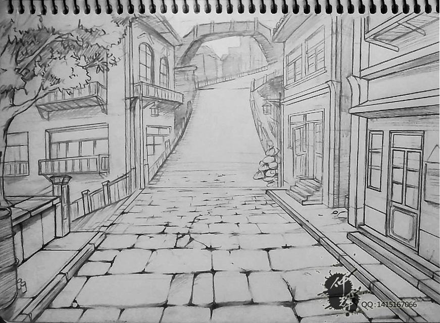 街道的手绘场景