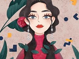 #红系小姐姐插画