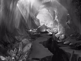 山洞水晶海底游戏概念场景设定
