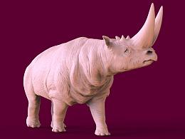 两角犀牛3D打印雕像
