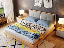 日式实木床,家具3D效果图制作,淘宝家具3D建模,3D