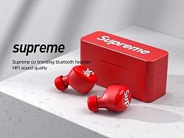 supreme 联名 蓝牙耳机渲染