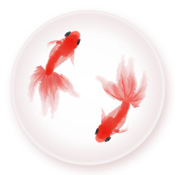 水彩中国风——年年有鱼·鱼盘|平面|图案|石家小鬼