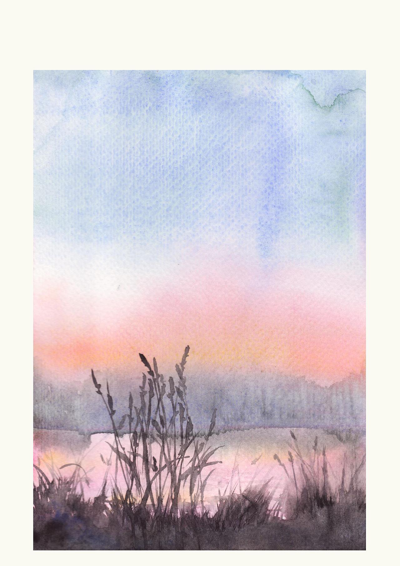 颜料是歌文 白夜混合用的,水彩纸都是便宜的保定纸.