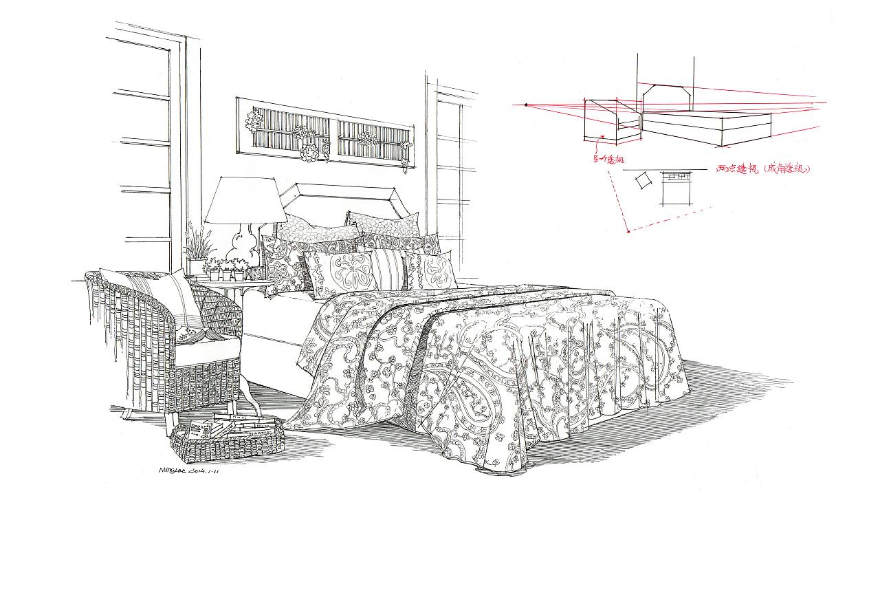 匠人营国|室内单体练习和床的透视与线稿对比图