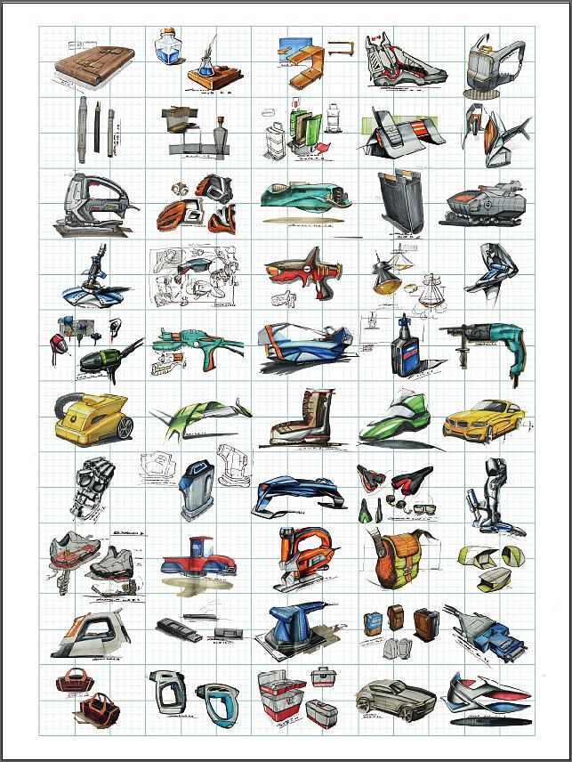 工业手绘/产品手绘效果图,排版与展示