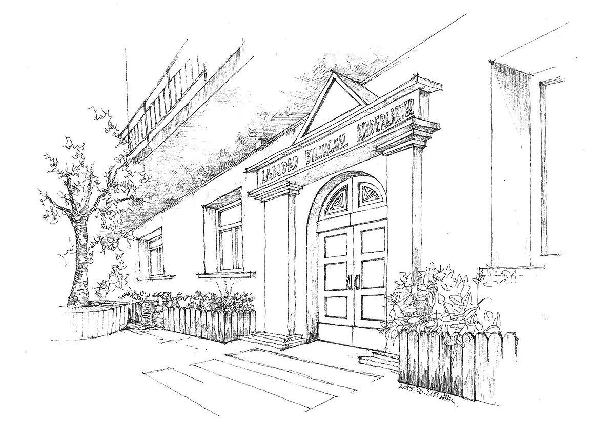 幼儿园设计的手绘图(线稿)|空间|室内设计|三水00