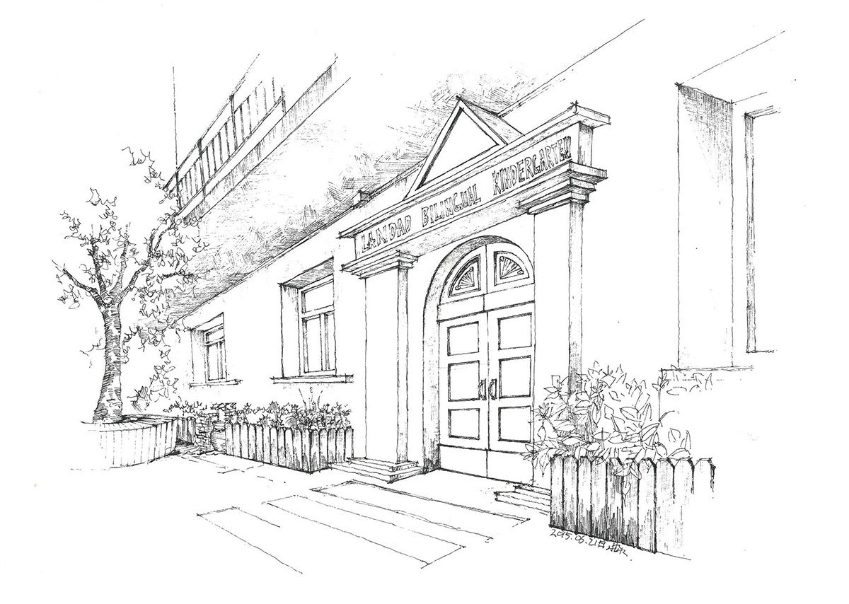 幼儿园设计的手绘图(线稿)