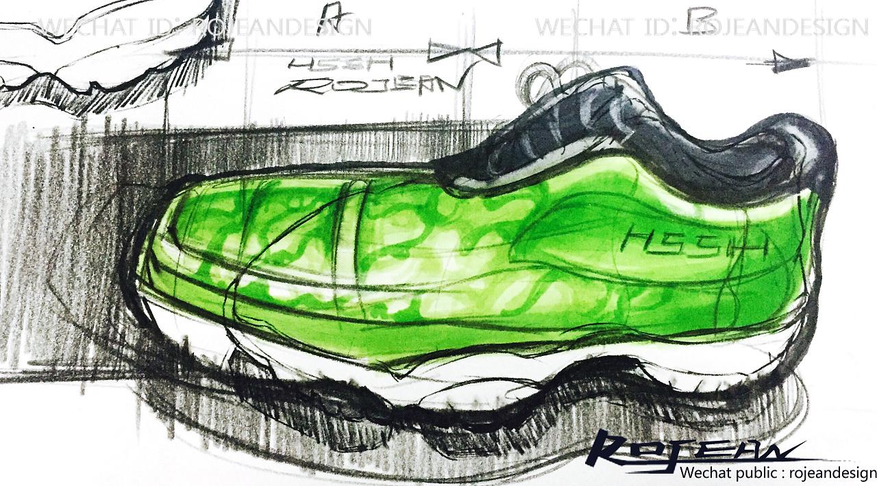 运动鞋设计手绘过程|工业/产品|生活用品|rojean