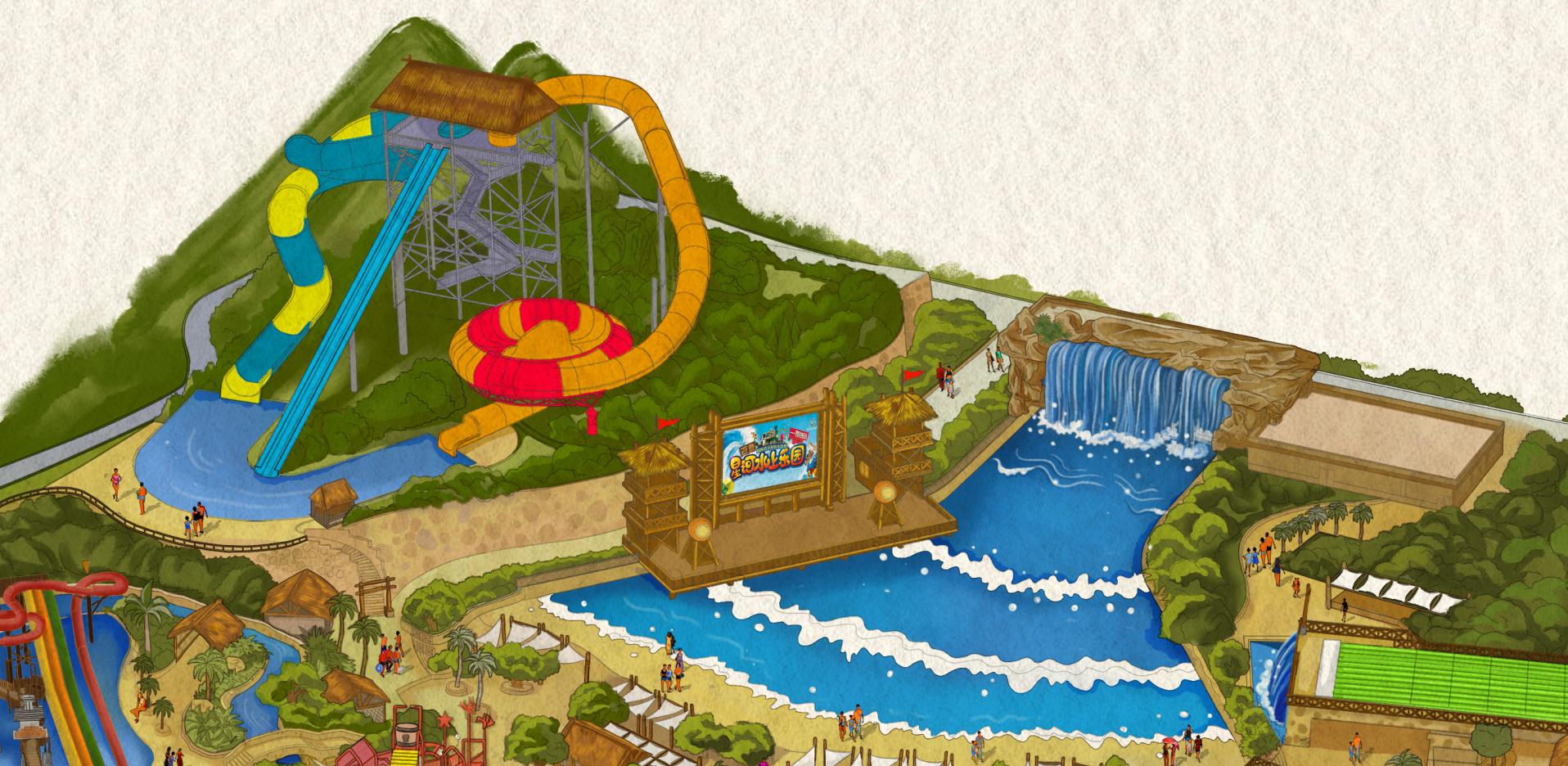 广西百色水上乐园手绘地图
