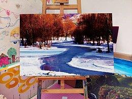 风景油画作品《入冬》