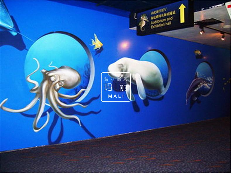 海洋馆商业墙面画|空间|室内设计|西安手绘墙公司